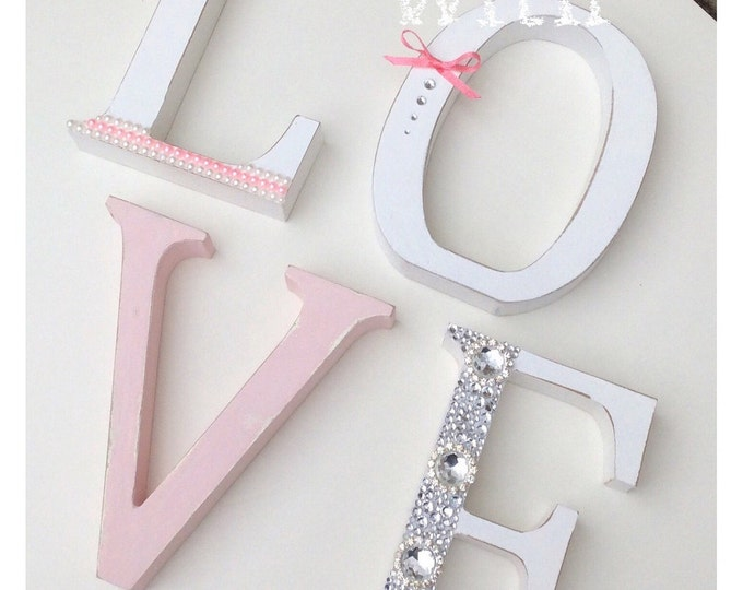 Letters | Home or Love sign | Free standing Letters | Can be any colours. Embellished letters. Home plaque | Love plaque.