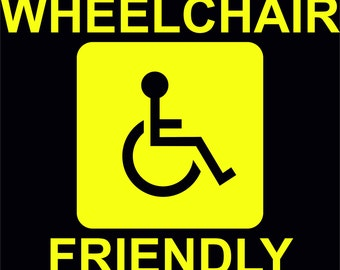 3 Large Yellow Wheelchair Friendly Stickers -Taxi, Minibus -10.5 in. X 8.5 in.