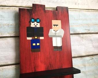 Custom Minecraft (dantdm and dr trayaurus)  wall hanging with shelf