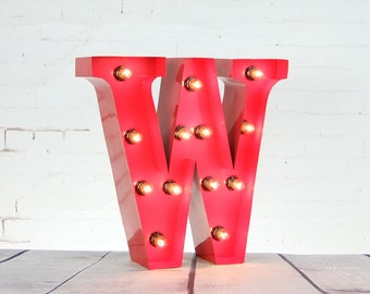 "15""/ 38cm Mains Powered Vintage Marquee Letter Light - Letter W - Floor Light - Letter Prop/Display - Available in Rusty or Red"