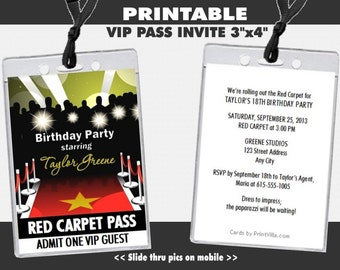 Red Carpet Paparazzi VIP Pass Birthday Party Invitations, Printable, Hollywood Theme Invites, Corporate Event