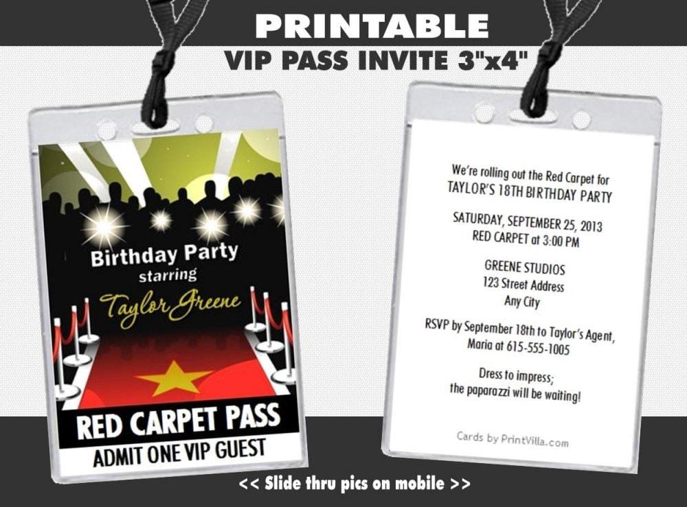 vip pass  etsy, party invitations