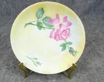 Porzellan Fabrik Hermann Ohme Hand-Painted Pink Rose Decorative Plate
