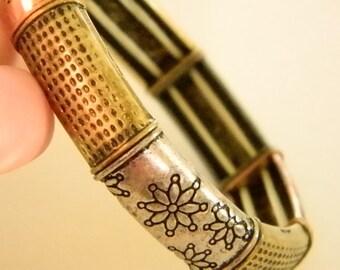 Silver Rose Gold Look Stretchy Bracelet