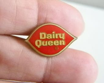 Vintage Red White Enamel Dairy Queen Tie Tack Lapel Pin Brooch