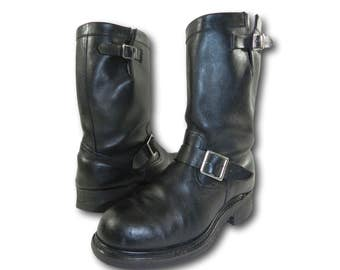 Vintage SEARS Classic Black Leather Steel Toe Hot Rod Motorcycle Biker Boots 10