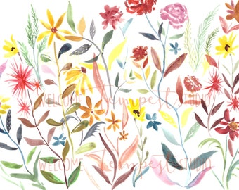 Happy Flowers, Colorful flowers, Painting, Print