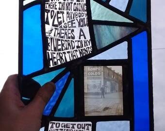 "Unique Stained Glass Window -""Bluebird"" Charles Bukowski"