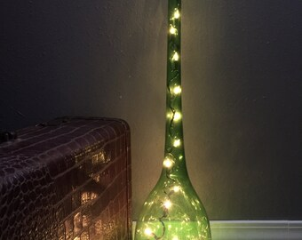 Green Glass Floor Vase Mid Century Floor Vase Hand Blown Glass  ReFabulousReVamped ReFabulous