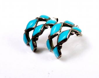 Zuni Sterling Silver Earrings Petit Point Turquoise Hoop Native American Hand Made Old Vintage Post