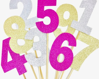 Glitter Number Cake Topper Birthday Party Decoration