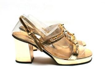 Vintage platform gold tone sandals, Golden tone pumps, Made in Italy, Size fr 36 / uk 3.5 / us 5