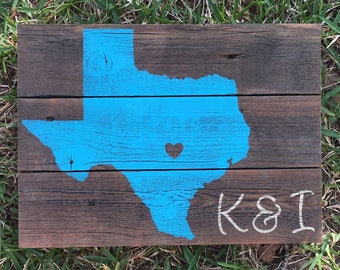 Texas sign home is where the heart is home sign texas home decor state sign housewarming gift wedding gift anniversary gift couple gift