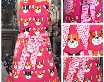 New Hand Made Pembroke Welsh Corgi Apron, Fully Lined, 100%  Cotton Apron.