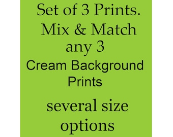 Any Cream Background set of 3 art prints from Gnosis Collage Art Etsy Shop, Many sizes available.