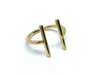 Ring traits, semi-open, gold-plated 750/000, adjustable size, parallel feature ring - gold plated 18 k