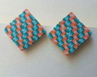 Square fimo studs, fabric effect,orange and green