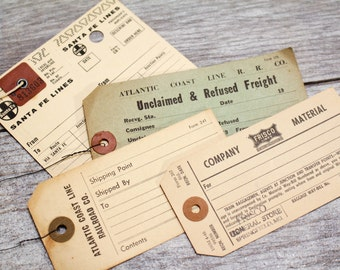 4 x Vintage Luggage Tags Railroad Baggage Train Frisco Lines Santa Fe Atlantic Coast Line RR Cool Gift Tags Gift Wrap Hang Tags Paper