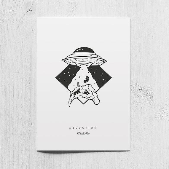 Poster Art Print - Abduction - Blackwork Series A5 Size - UFO Pizza Un...