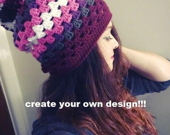Create your own design - Crochet Striped Slouchy Beanie with Poof