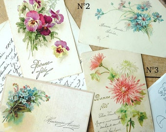 French Vintage Flowers Postcard
