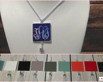 Square Enamel Disc Necklace with Silver Tassel, Monogram