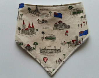 City of Melbourne baby bandana bib, Melbourne landmarks, cotton print, plain white minky backing, Australian handmade