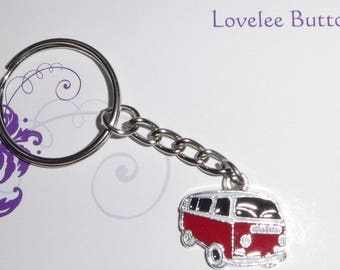 Van VW Kombi Keyring Enamel Red Blue or Green