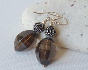 Smoky Quartz Sterling Silver Earrings, Vintage Dangle  Brown Earrings, Dangle Faceted Pierced Earrings, Quartz Gemstone Retro Jewelry