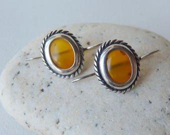 Faux Amber Sterling Silver Art Deco Earrings Vintage Yellow Mustard Resin Amber Pierced Earrings, Silver 925, Retro Dangle Pierced Jewelry