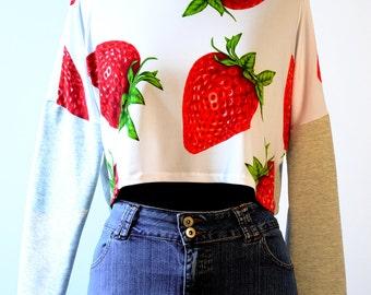 "Crop Top ""Strawberry Grey"