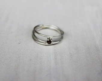 Three wire ring with smoky quartz Silver, triple ring, 925 silver ring with stone.