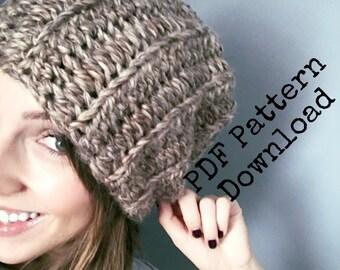 The basic chunky slouch crochet PDF PATTERN, digital download crochet pattern, chunky slouchy hat, ribbed crochet beanie, unisex slouch hat