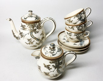 Charming Satsuma Porcelain Tea Set - Japan - Early 20th Century