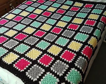 Granny Square Afghan Throw