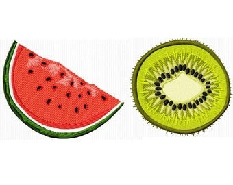 2 embroidery designs of a slice of watermelon and kiwi for machine embroidery 4 x 4 format