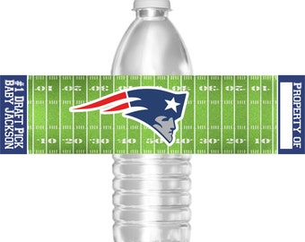 Printable New England Patriots Football Birthday Party Water Bottle Labels 16.9 oz Water Party Favors Baby Shower Bar Mitzvah
