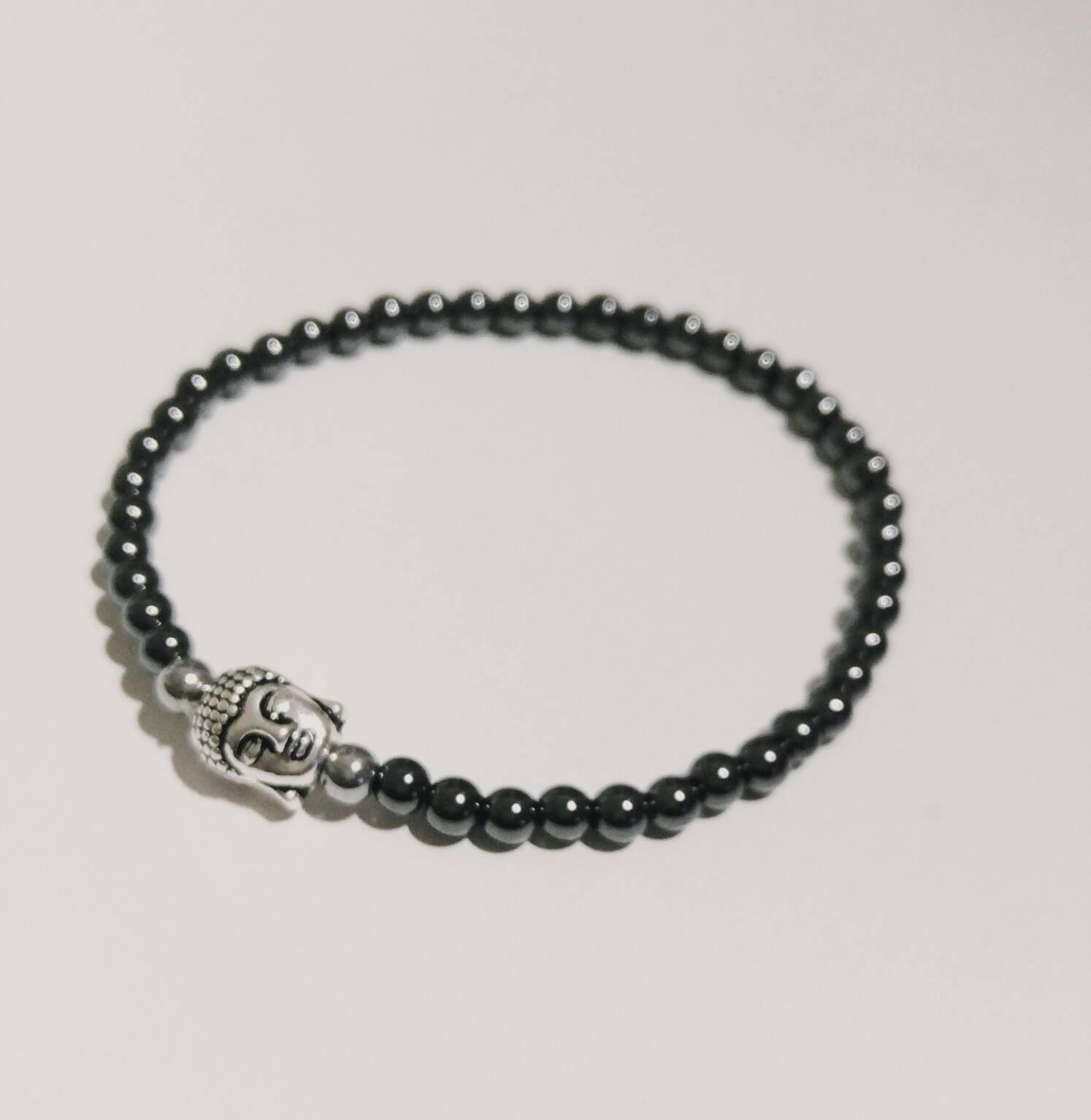 Black Hematite Unisex Buddha Handmade Gemstone Bracelet~natural  Hematite~handmade Jewelry~beaded Jewelry