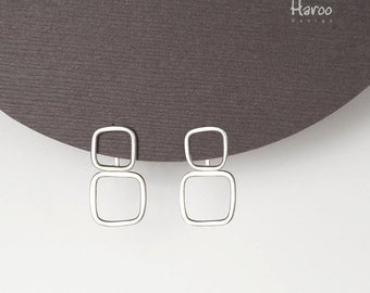 Geometric Earrings and Ear Jackets, Sterling Silver