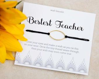 Bestest Teacher Wish Bracelet, Daycare Teacher Appreciation Gift, English Teacher Thank You, End of Year Gift, cool High School Teacher Gift