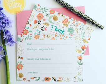 Girls Thank You Cards, kids thank you cards, fill the blanks thank you cards, Pack of thank you cards for kids, Flower thank you cards