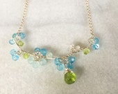 Blue and Green Floral Vine Necklace Swiss Blue Quartz Chalcedony Aquamarine Peridot Gemstone Wire Wrap Necklace Sterling Silver Jewelry