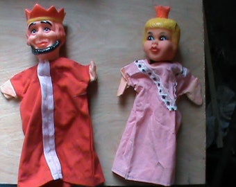 Set of two vintage toy hand puppets King and queen retro childs show prop