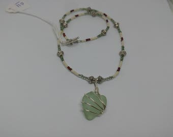 Beautiful Light Green Sea Glass Necklace Hand Wrapped