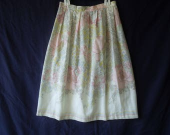 70s Long Floral Pastel Maxi Skirt