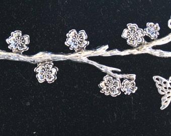 Silver Branch with Silver Dangle Butterfly Bracelet