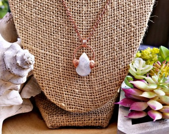 SALE! 15% OFF! Copper Electroformed Moonstone Crystal Necklace