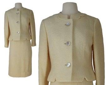 Vintage Womens Suit, 1960s Suit, 60s Wool Suit, Cream Womens Suit, Cream Vintage Suit, Secretary Suit, Mad Men, Pencil Skirt, Size Small