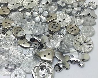200 SILVER Button & Flatback Mix Embellishments Cardmaking Resin Craft