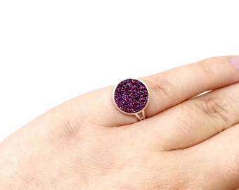Statement ring - faux druxy ring - adjustable ring - purple ring